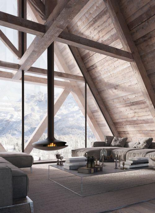 Modern fireplace, A formed roof, wooden panelwork #homedecoratingideaslivingroomdreamhouses