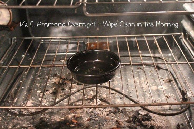 Eine halbe Tasse Ammoniak in einem total kalten Ofen über Nacht stehen lassen. Morgens lassen sich wie in einem Märchen alle Reste ohne Kraftaufwand aus dem Ofen wischen.