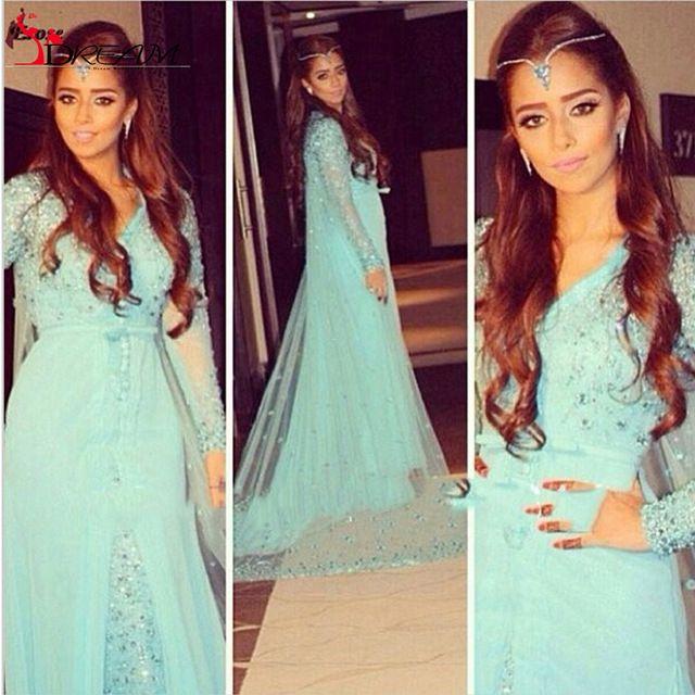 Nova 2016 A Linha de Profundo Decote Em V Mangas Compridas Turquesa Hijab Underscarf Marroquino Kaftan Dubai Muçulmano Vestido de Noite Prom Dress Vestido