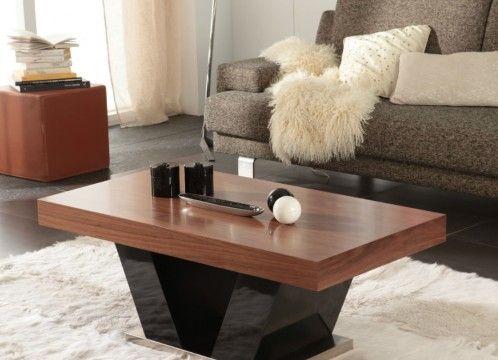 Mesa de centro moderna elevable, tapa de madera combinada con patas en forma de V color negro.