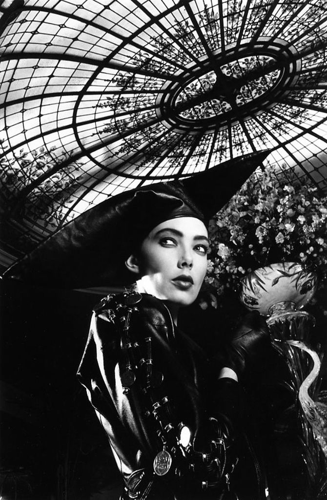 Robert Doisneau // A Fashion Model In Black Leather, Under The Bofinger Glass-Roof, In Paris , 1987.
