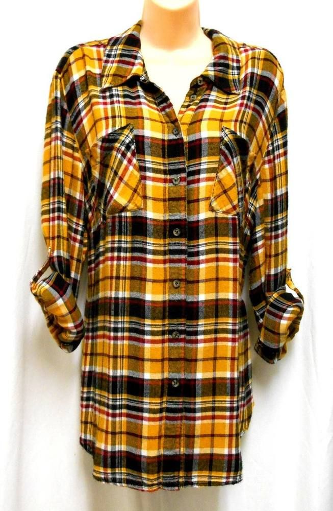 3ea1239a LANE BRYANT Womens Size 20 Yellow Black Plaid FLANNEL SHIRT TOP Roll Tab  Sleeves #LaneBryant #Buttonup #Casual