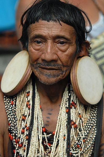 The last Rikbaktsa elder wearing traditional ear plugs. There are less than 900 members of this Amazonian tribe and when this incredible man dies, the tradition will die with him.