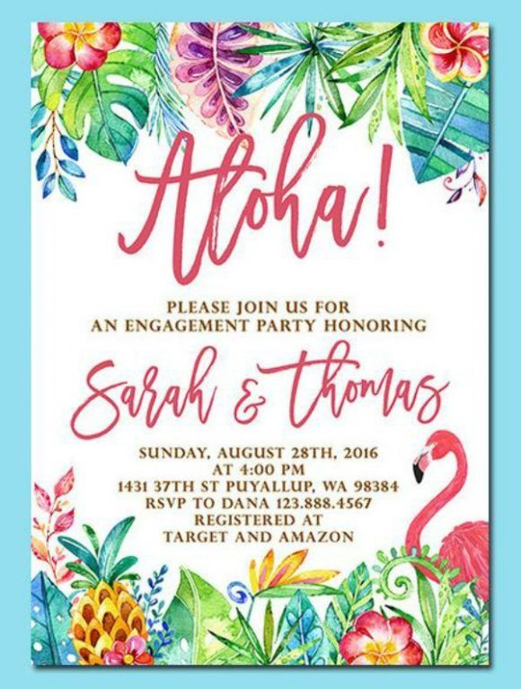 If You Re Getting Engaged Over The Summer Then A Hawaiian Luau Is The Perfect Theme To Celebrate Engagement Party Luau Luau Invitations Luau Party Invitations