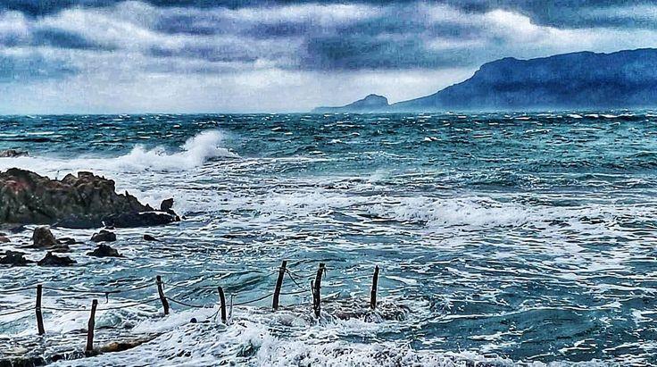 Ci sono giornate nelle quali non so dove finisca io e cominci lui. (Oggi vento forte fortissimo di tempesta che pulisce e porta cose nuove. Con la quiete la spiaggia sarà uno scrigno di conchiglie pezzi di legno e altri tesori portati dal mare. Con la quiete quella bellissima che arriva dopo la tempesta). #sardegna #stormy #mycountry #seaview #sea #winter #wind #tavolara #nature #amazing #sardinia #today