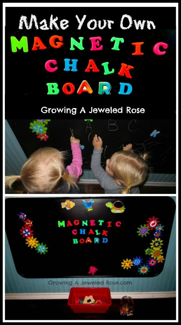 Simple DIY magnetic chalk board- costs less then twenty dollars to make and there are so many fun and educational ways to use it!