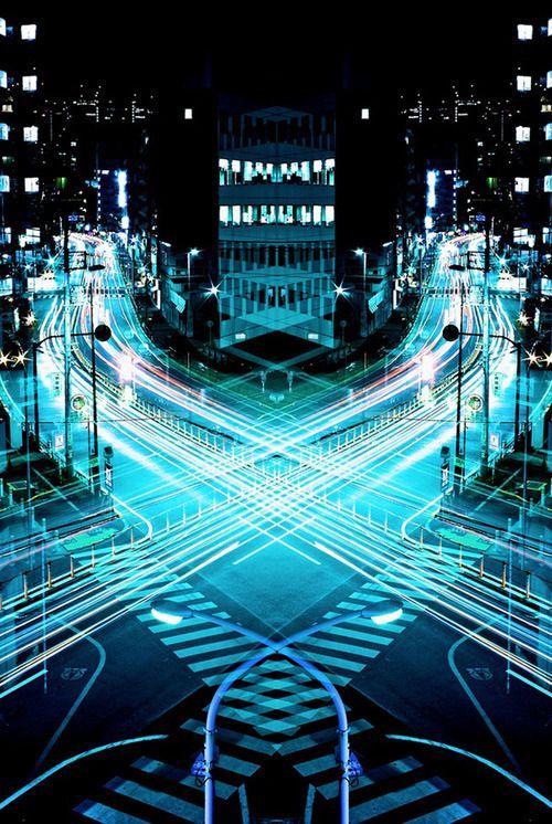 Traffic in lights.