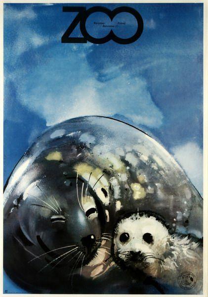 """Waldemar Świerzy, """"ZOO Foki"""", 1979, źródło: Galeria Plakatu BUW"""
