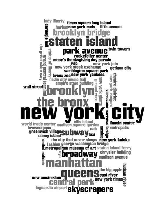 New York City Word Collage Print 8x10 by cjprints on Etsy