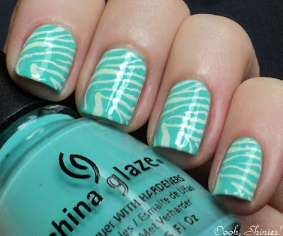 aqua tiger nails!Tigers Nails, Zebras Stripes, Shorts Hair, China Glaze, Aqua Tigers, Zebras Prints, Animal Prints, Zebras Nails, Prints Nails