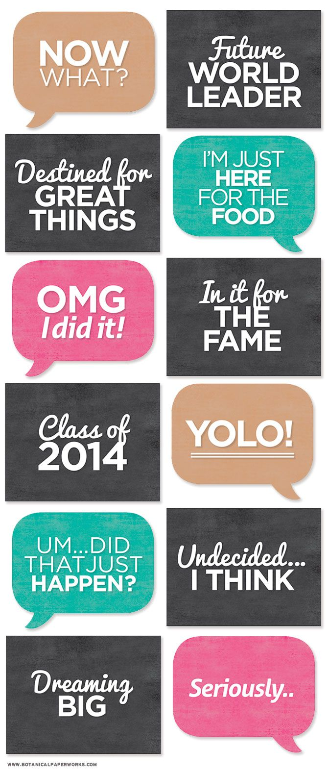 Print off all these signs to add some character to grad photos.