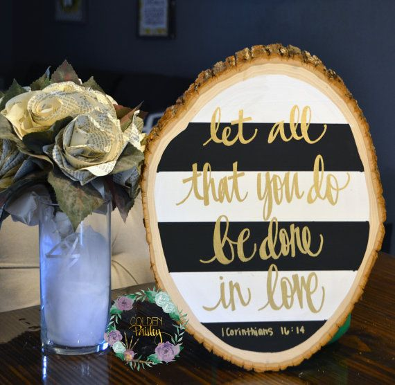 Wood Slice Rustic Hand Lettering Bible Verse Painting Sign Wall Hanging Black Striped Gold Calligraphy Typography Wall Art Wall Decor Modern