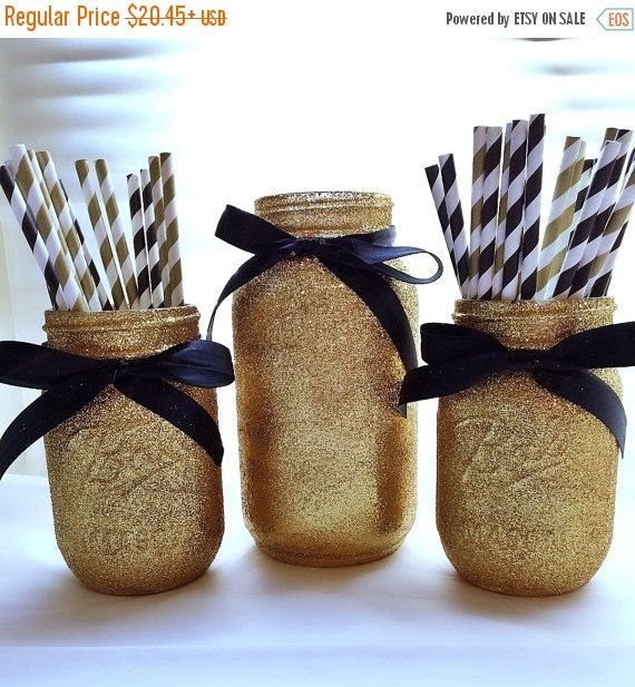 ON SALE Black and gold mason jar set party by EverydayDesignEvents