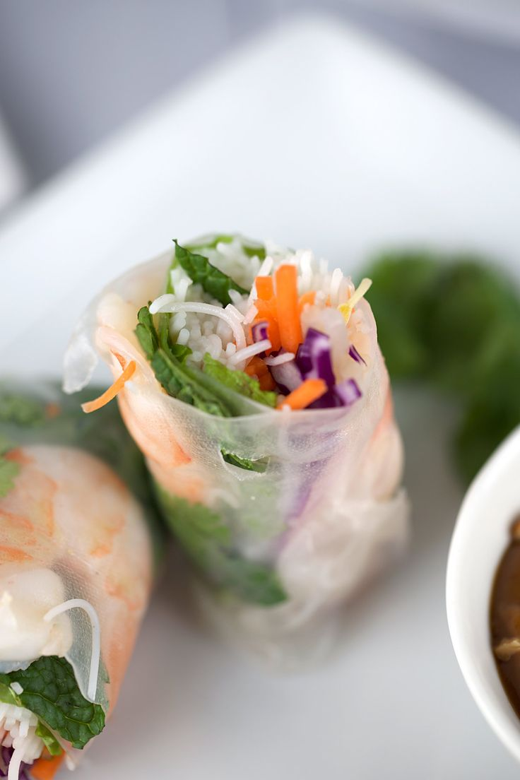 Fresh Shrimp Spring Rolls with Hoisin Peanut Dipping Sauce - A refreshing and delicious appetizer recipe. Each roll is filled with healthy crisp vegetables and herbs | jessicagavin.com