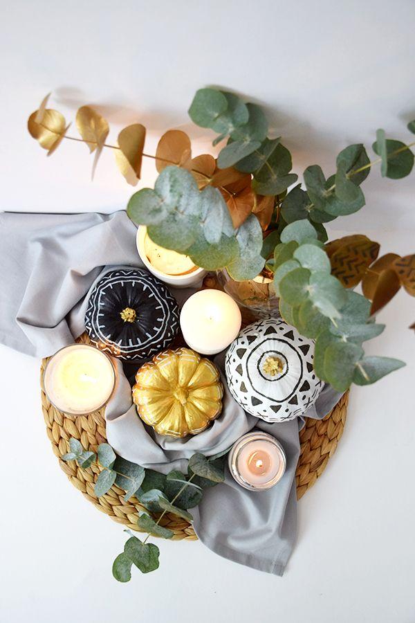 Decorar unas calabazas por halloween sin que sean terroríficas es posible! además con un estilo nórdico inconfundible.