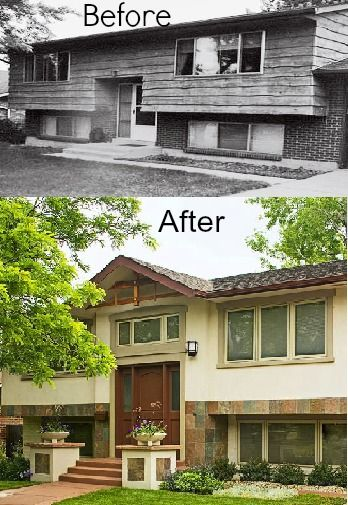 pleasing split entry house remodel before and after. 22 Curb Appeal Make Overs From Better Homes and Gardens 242 best Bi Level images on Pinterest  Backyard ideas