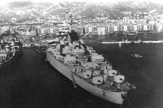 Jean Bart French Richelieu-class battleship of World War II. Many secondary and third armament deck guns...(google.image) 12.17 #4/4