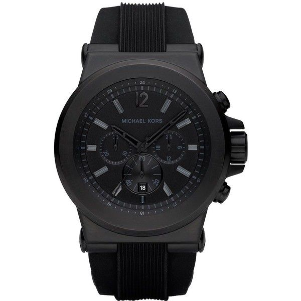 Michael Kors Men's Round Stainless Steel Chronograph Watch (6,210 THB) ❤ liked on Polyvore featuring men's fashion, men's jewelry, men's watches, black, mens watches jewelry, michael kors mens watches, mens chronograph watch, mens watches and mens chronograph watches
