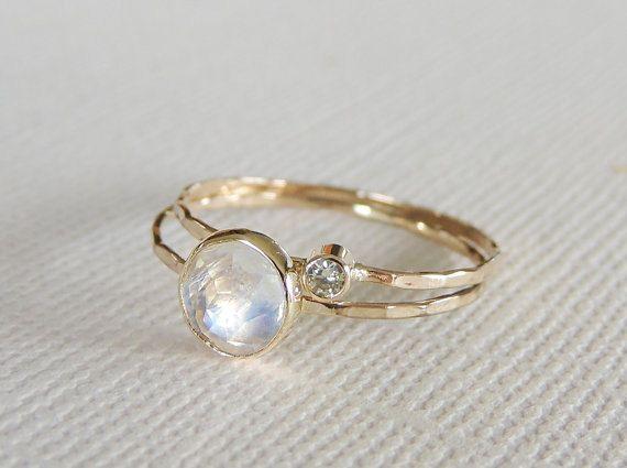 Rainbow Moonstone Ring Set Moissanite Ring Set Diamond by Luxuring