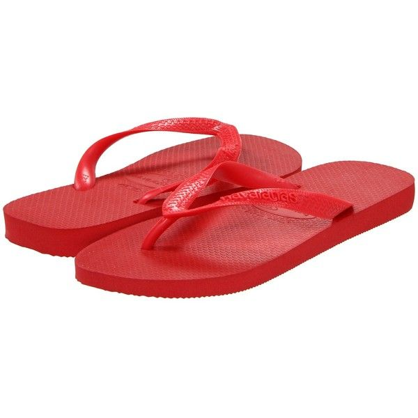 Havaianas Top Flip Flops Women's Sandals ($18) ❤ liked on Polyvore featuring shoes, sandals, flip flops, papuci, ruby red, summer sandals, summer flip flops, rubber thong sandals, havaianas flip flops and thong strap sandals