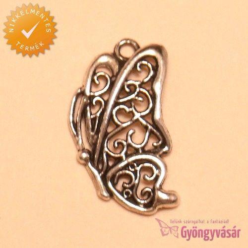 Ezüstszínű, filigrán pillangó - nikkelmentes fém fityegő