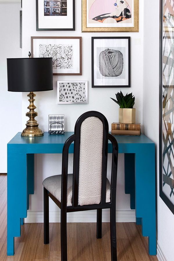 Add one strong pop of color--like this teal desk--to brighten up (and finally make use of) that odd corner of your living room you never knew what to do with.