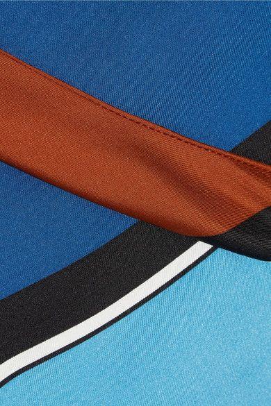 Diane von Furstenberg - Asymmetric Printed Silk Maxi Dress - Blue - large