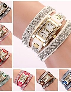 banda de diamantes de imitación de línea diamante rectangular reloj de las mujeres