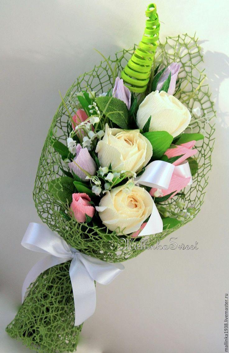 Цветы с конфетами из гофрированной бумаги своими руками мастер класс фото 4
