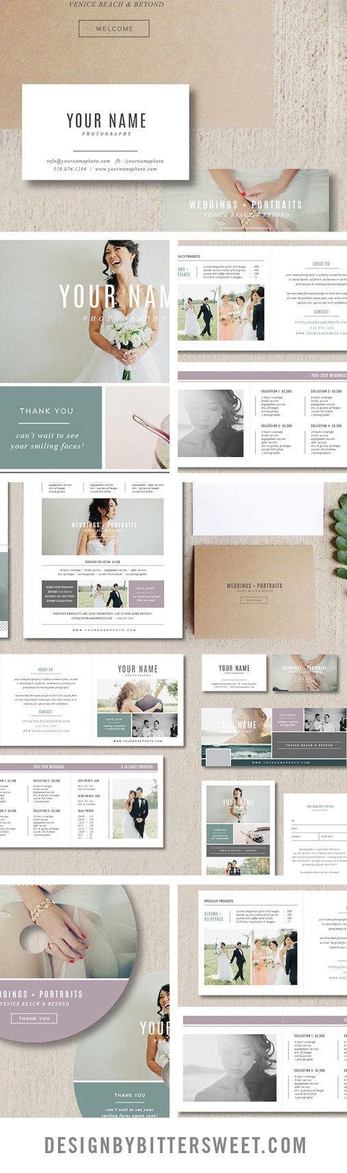 """Start rebranding your photography studio with our easy to use Photoshop templates.                -3.5"""" x 2"""" business card design  -5"""" x 5"""" accordion trifold design  -5"""" x 7"""" folding thank you card design  -8.5"""" x 11"""" pricing guide template  -4"""" x 6"""" gift card template (matching 4"""" x 5.5"""" design for WHCC)  -2 DVD designs        -facebook timeline template"""
