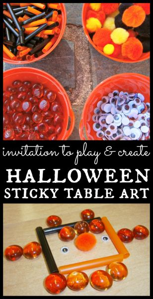Invitation to Play- Halloween Sticky Table Art from www.fun-a-day.com -- art, sensory, and fine motor with a Halloween theme!