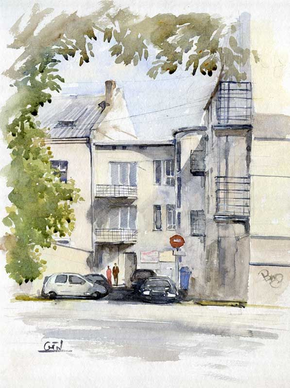 """ARTENDE Contemporary Art Gallery http://www.artende.pl   Jaroslaw Glod - Watercolor - """"Backyard"""" 30cm x 40cm"""