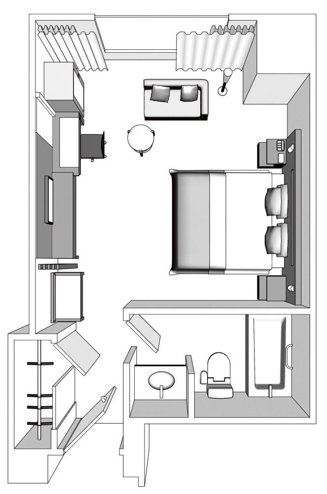 Hotel Room Blueprint: Hotel Okura Fukuoka Luxury Double 35 Sqm