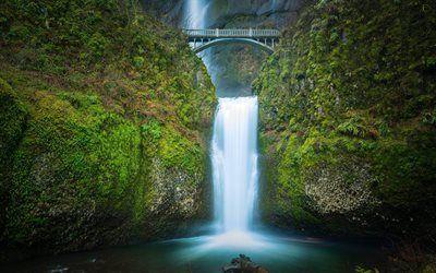 壁紙をダウンロードする 滝, ロック, 橋, multnomahの滝, 橋のお得なキャンペーンや限定特典, オレゴン州