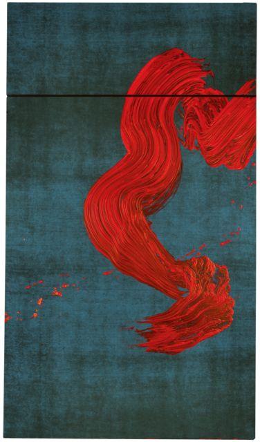 """Peinture française : Fabienne Verdier, 2011, """"Saint-Christophe traversant les eaux"""", calligraphie, tache, rouge-gris, femme artiste, 2010s"""