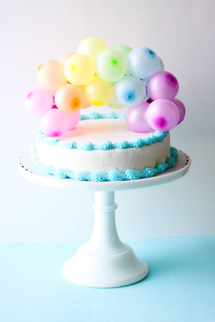 DIY Rainbow Balloon Cake Topper
