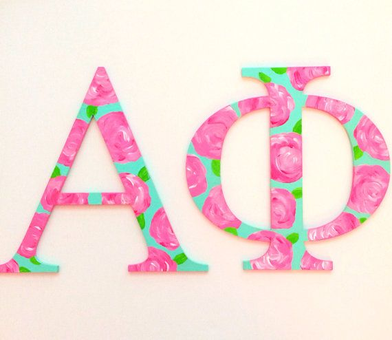 hand painted lilly pulitzer greek letters by craftingcollegegirl