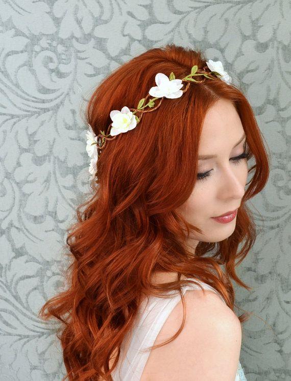 White flower crown woodland wedding head piece by gardensofwhimsy