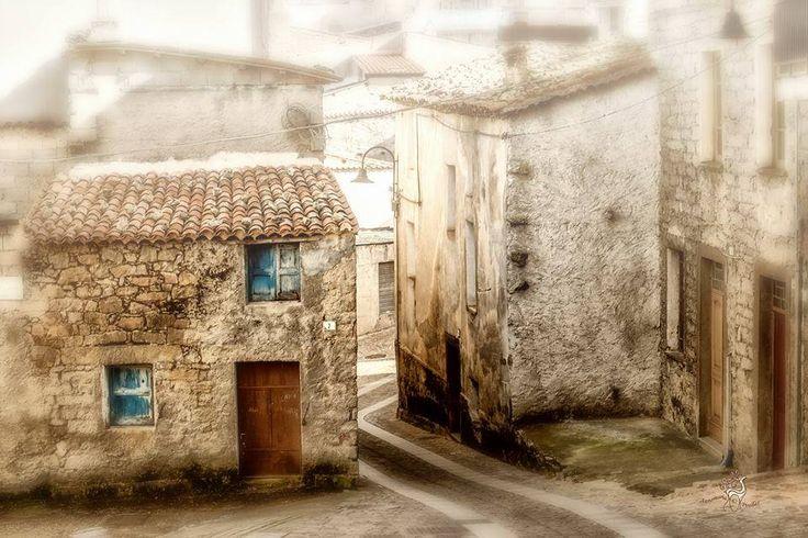 Sardegna-Casette a Fonni, di Annamaria Pirellas. Un orizzonte favoloso circonda il villaggio: le alte montagne del Gennargentu, dalle vette luminose quasi profilate d'argento, dominano le grandi valli della Barbagia, che salgono, immense conchiglie grigie e verdi, fino alle creste ove Fonni, con le sue case di scheggia e i suoi viottoli di pietra, sfida i venti e i fulmini.