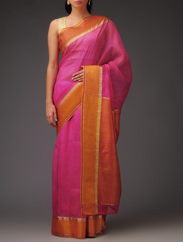 Fuschia Orange Silk Handwoven Printed Saree at Jaypore.com