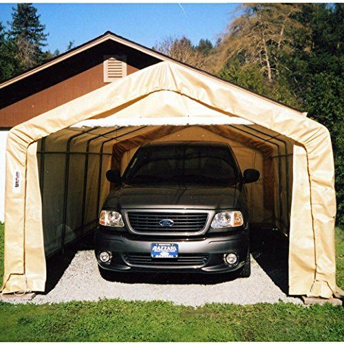 Rhino Shelter Instant Garage House Style 12x20x8 - Tan - BMC-MDM 84805 > Heavy Duty Galvanized Finish on All Steel Frame Components for Maximum Strength & Long Life; Easy Bolt Together Design - all Pre-drilled & Cut; Wind Brace Support on Both Sides Two(2) Double Zipper Doors with Bottom Pockets; Four(4) Bungee Cord Tie ups for Doors; Protective Plastic Tube End Caps - All Open Ends Standard Thread Plated Hardware Kit with Retaining Nuts & Protective SS Washers; Quick Assembly Wrench…