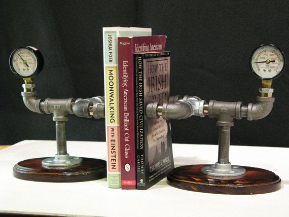 Steampunk bookends via etsy diy plumbing pipe for Steampunk furniture diy