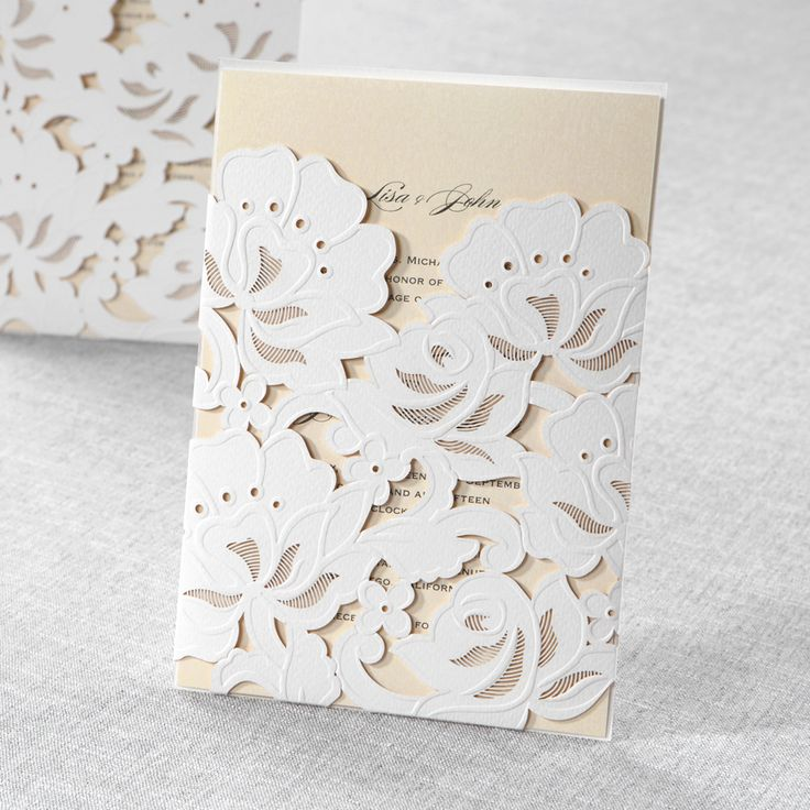 paper cut wedding invitations uk%0A Yellow Gold Floral Laser Cut with Embossing  Wedding Invitations by B Wedding  Invitations