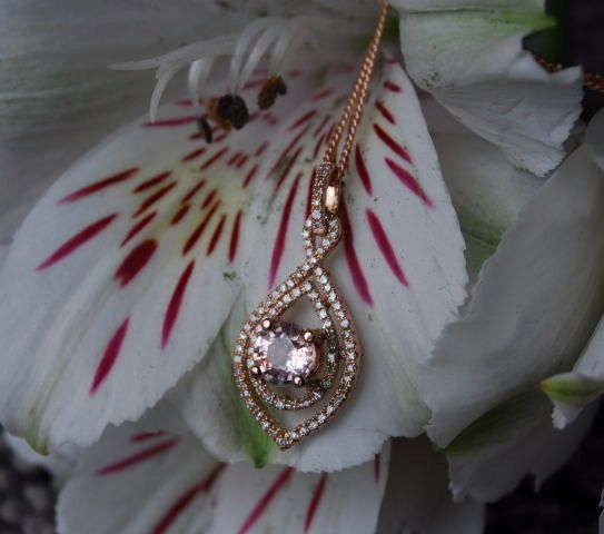 Rose gold pendant with Peach sapphire and by EidelPrecious on Etsy, $750.00