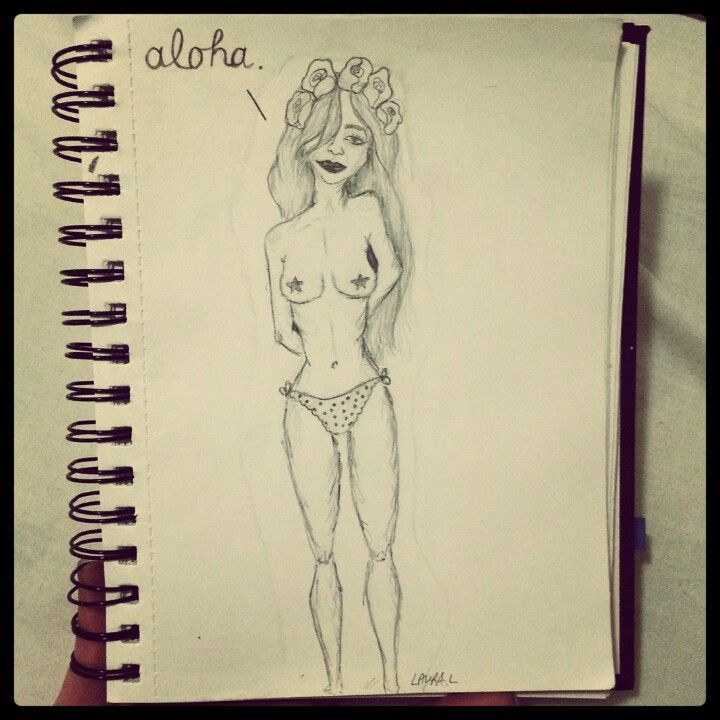 #aloha #nude #girl #flowercrown #pencil #sketch #doodle #illustration