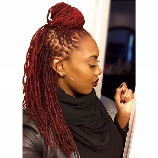 @msmarleymar Got my parts looking GOOD! Best retightening ever! She does everything including retightening by interlocking. I put an adore red cherry rinse to spruce up the color some. Thanks love! @msmarleymar #locs #redhead #5headshawty