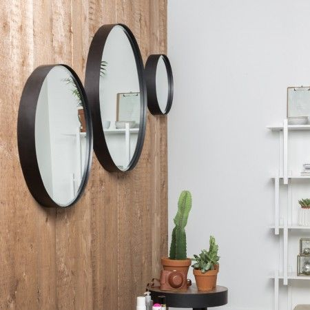 Ronde spiegel van zwart metaal 36 cm