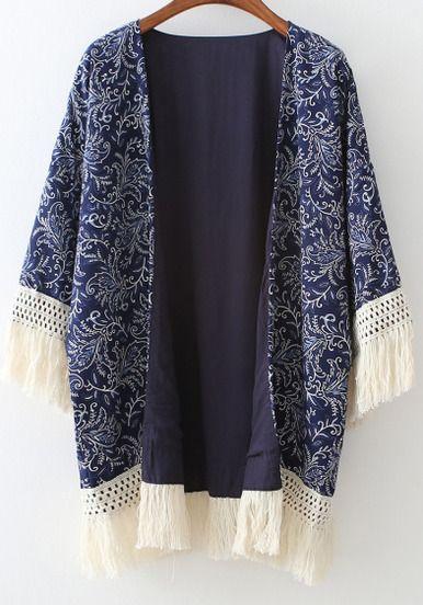 Kimono décontracté à franges floral -bleu marine -French SheIn(Sheinside)Site Mobile