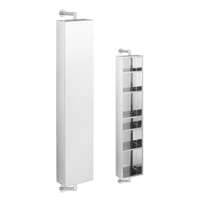 This tall rotating bathroom cabinet gives you a mirror and plenty of storage in stainless steel and mirrored glass. The cabinet fits easily to wall and rotates to give easy access to the ample storage at the rear.