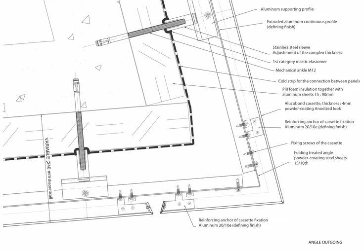 Horizontalschnitt Gebäudeecke:  Die Vorderkante der Hülle liegt mit einem Abstand von 240 mm vor der Rohbaukante. Die 4 mm starken Alucobond-Paneele sind zu 41 mm dicken Kassetten gakantet. Eine 90 mm dicke Wärmedämmung dämmt Wände und Dach. Gekantete Eckelemente gewährleisten scharfe Gebäudekanten ohne klaffende Fugen.